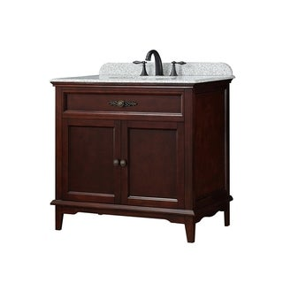 OVE Decors Doncaster 36 in. Tobacco Single Sink Vanity with Speckled Beige Granite Top