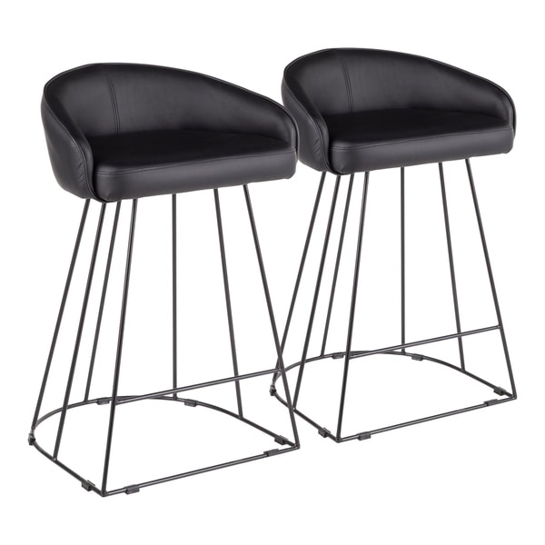 Canary Contemporary Faux Leather Upholstered Counter Stool (Set of 2)