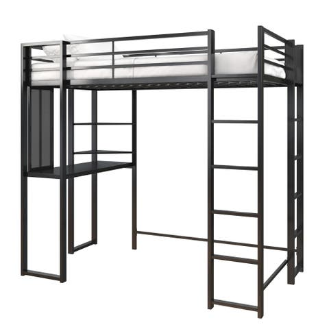 Avenue Greene Ally Twin Metal Loft Bed with Desk