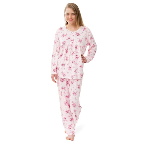 Women's Knit Floral Pajama Set Pink