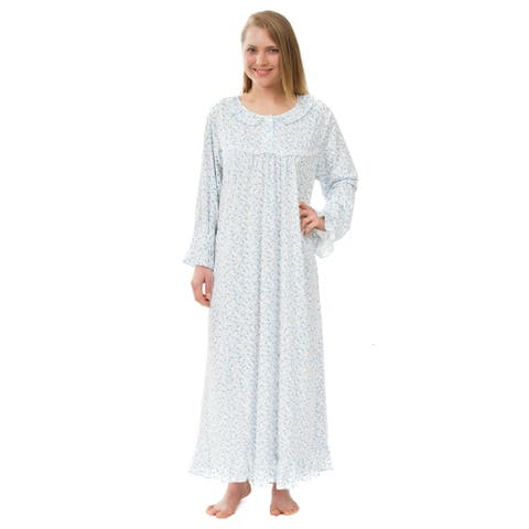 Women's Floral Knit Victorian Nightgown, Long Sleeved Blue Floral Nightgown