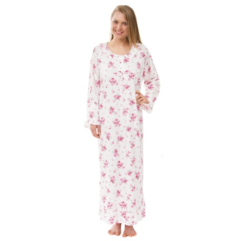 Women's Floral Knit Victorian Nightgown, Long Sleeved Pink Floral Nightgown