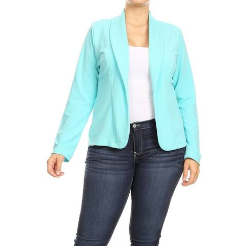 Women's Casual Solid Plus Size Basic Comfy Long Sleeve Draped Blazer Cardigan Jacket