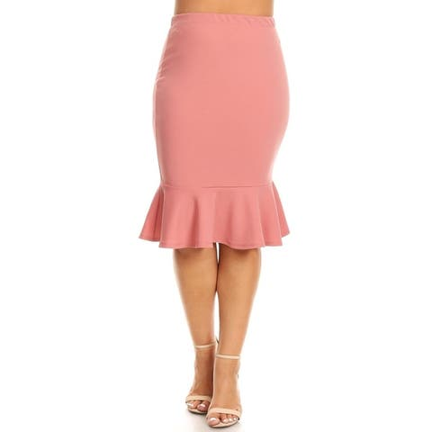 Women's Plus Size Solid Casual Elastic Waistband Ruffle Work Pencil Skirts