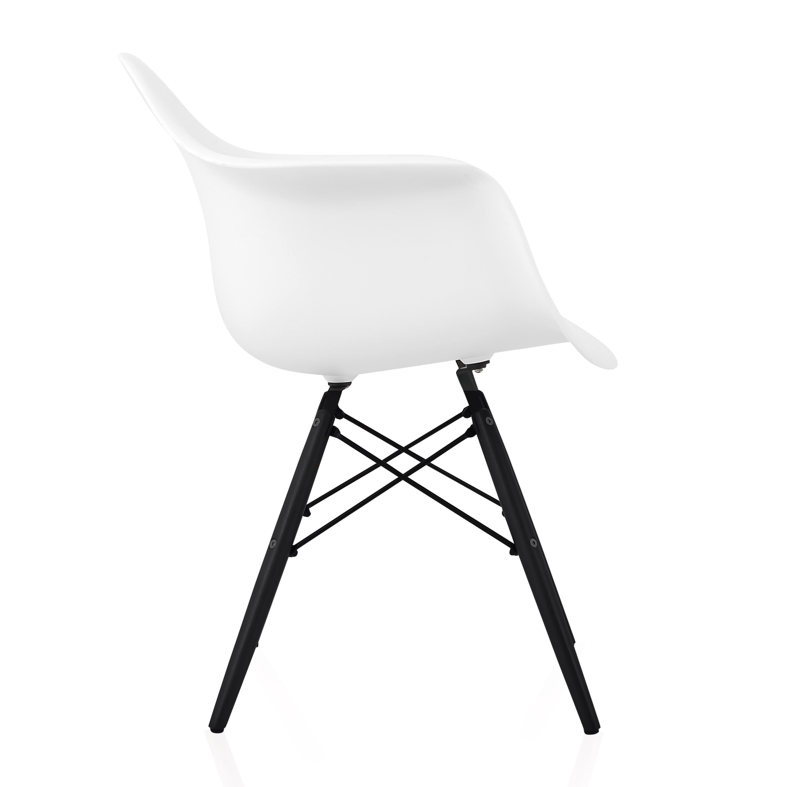 Surprising Cozyblock Scandinavian White Molded Plastic Dining Arm Chair With Black Wood Eiffel Legs Theyellowbook Wood Chair Design Ideas Theyellowbookinfo