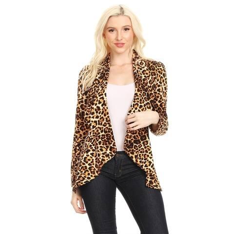 Women's Pattern Casual Office Open Front Blazer Jacket