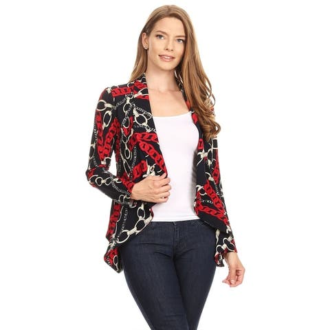 Women's Pattern Casual Office Open Front Blazer Jacket