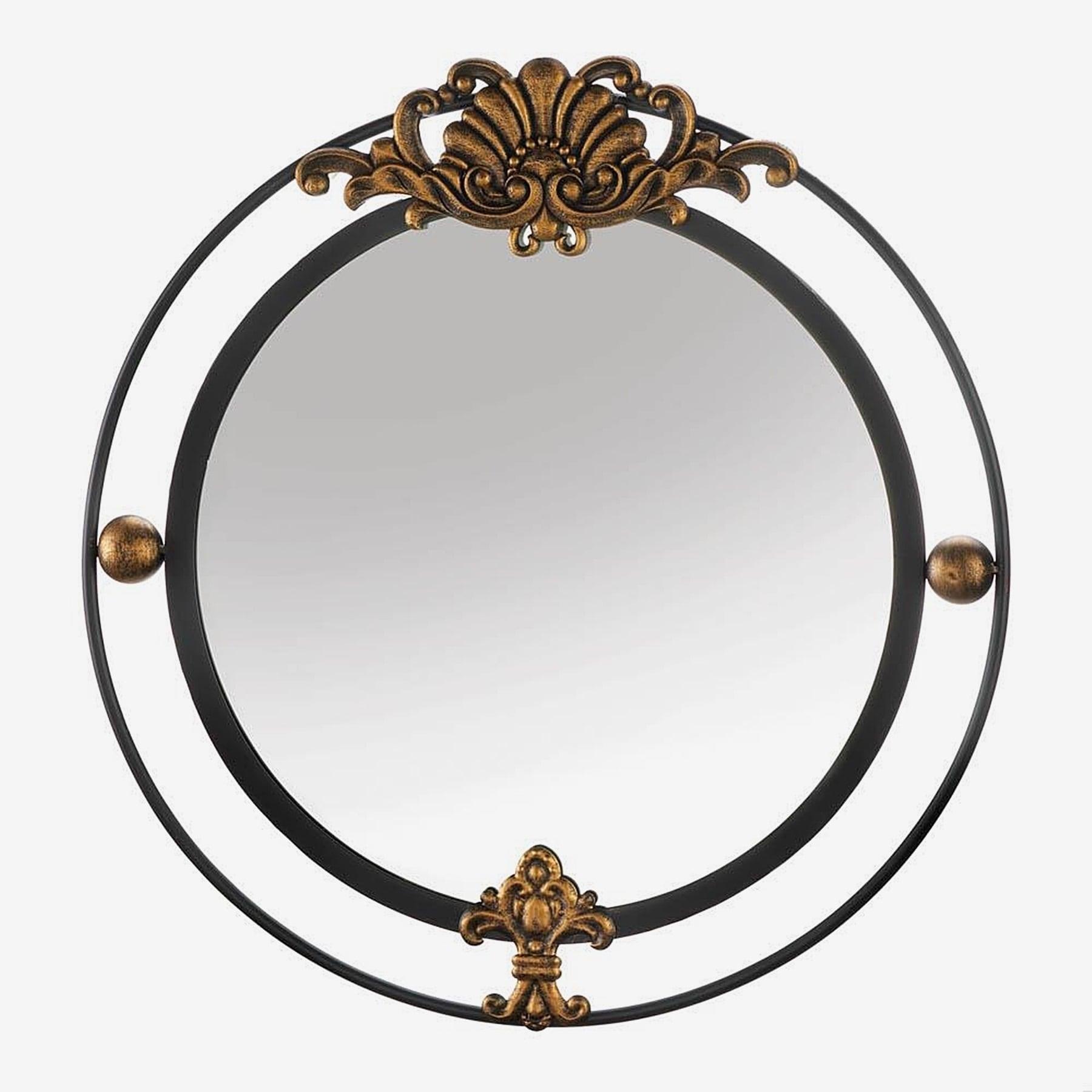 Garfield Decorative Round Wall Mirror Black Gold