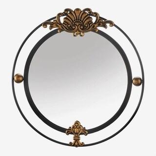 Garfield Decorative Round Wall Mirror - Black/Gold