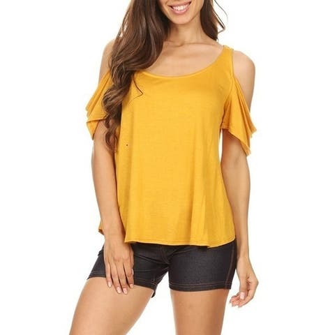 Women's Solid Basic Lightweight Comfortable Soft Jersey Knit Open Shoulder Tunic Tee Top
