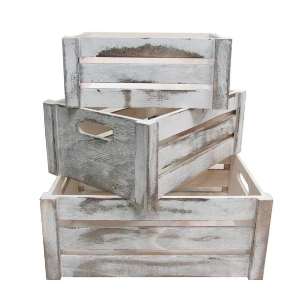 Distressed Decorative Rectangle Storage Gift Wood 3pcs, Rustic White