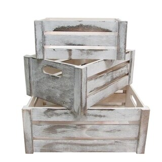 Distressed Decorative Rectangle Storage Gift Wood 3pcs, Rustic White