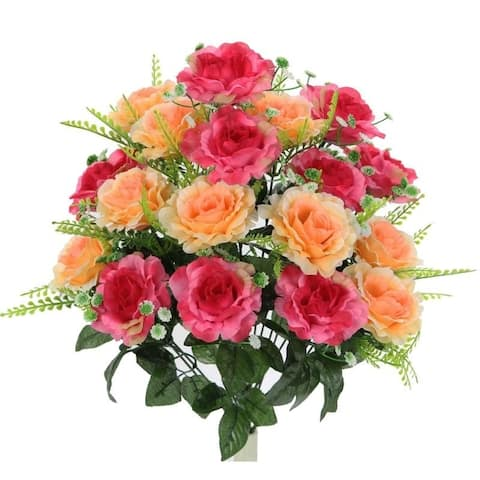 18 Stems Artificial Full Blooming Rose with Greenery Flower Bush