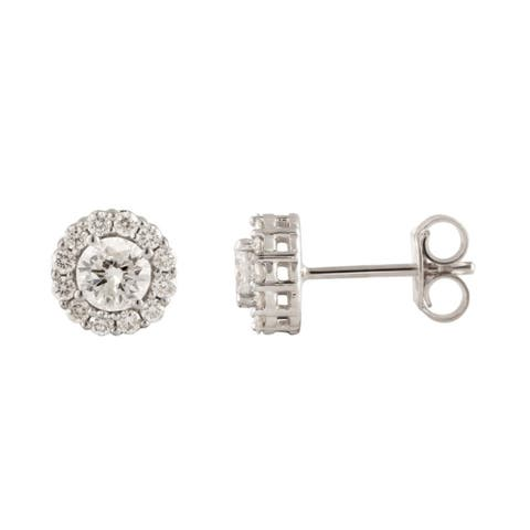 Divina 10KT Gold 2.00ct TDW Round Diamond Halo Earrings