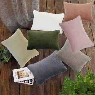 Krus Cotton Velvet 12x18 Lumbar Decorative Throw Pillow Cover (Set of 2)