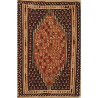 "Kilim Geometric Hand Woven Wool Persian Area Rug - 5'4"" x 3'7"""