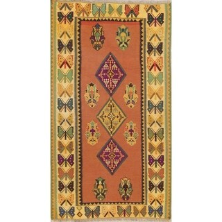 "Kilim Geometric Hand Woven Wool Persian Area Rug - 8'1"" x 4'7"""