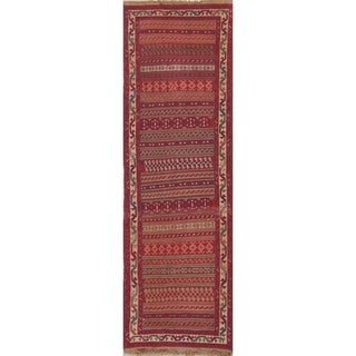 "Kilim Geometric Hand Woven Wool Persian Rug - 8'10"" x 2'8"" Runner"