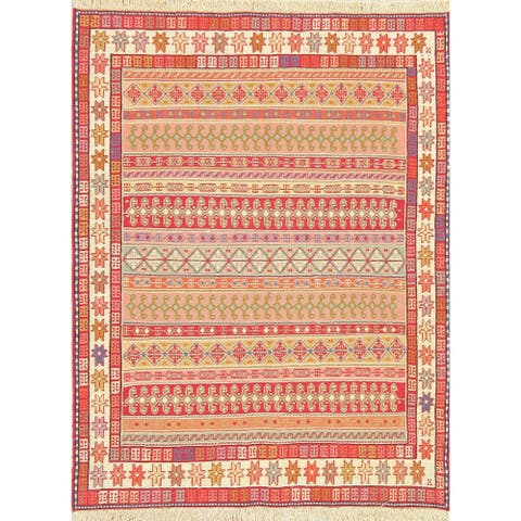 "Kilim Geometric Hand Woven Wool Persian Area Rug - 4'8"" x 3'7"""