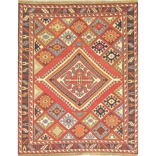 "Kilim Geometric Hand Woven Wool Persian Area Rug - 6'1"" x 4'10"""