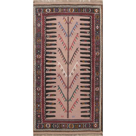 "Kilim Geometric Hand Woven Wool Persian Area Rug - 6'3"" x 3'3"""