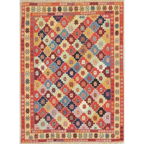 "Kilim Geometric Hand Woven Wool Persian Area Rug - 4'8"" x 3'6"""