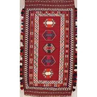 "Kilim Geometric Hand Woven Wool Persian Rug - 9'5"" x 5'1"" Runner"