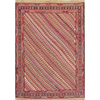 "Kilim Geometric Hand Woven Wool Persian Area Rug - 6'8"" x 4'9"""