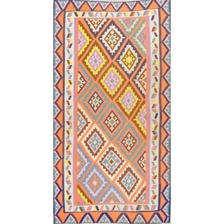 "Kilim Geometric Hand Woven Wool Persian Area Rug - 7'9"" x 4'0"""