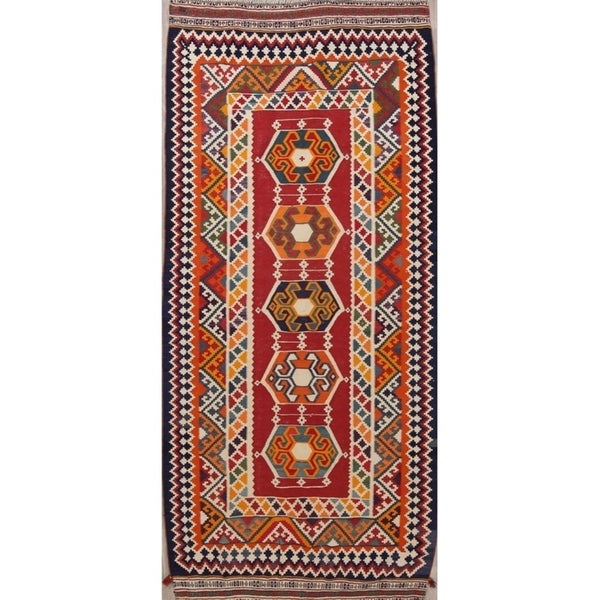 "Kilim Geometric Hand Woven Wool Persian Area Rug - 9'4"" x 4'2"" Runner"