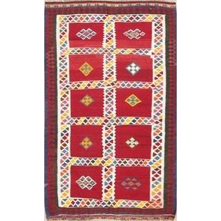 "Vintage Kilim Geometric Hand Woven Wool Persian Area Rug - 6'10"" x 4'3"""