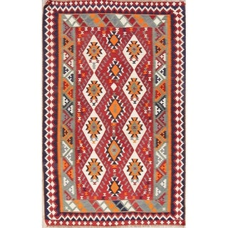 "Kilim Geometric Hand Woven Wool Persian Area Rug - 8'0"" x 5'1"""