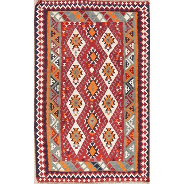"Kilim Geometric Hand Woven Wool Persian Area Rug - 8'0"" x 5'1"""