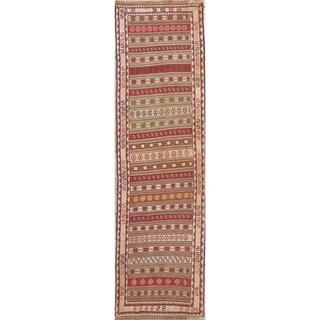"Kilim Geometric Hand Woven Wool Persian Rug - 8'11"" x 2'6"" Runner"
