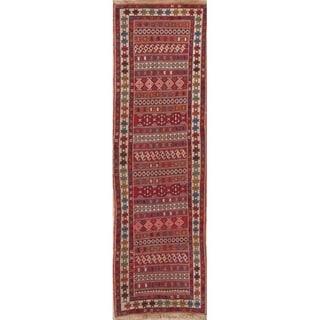 "Kilim Geometric Hand Woven Wool Persian Rug - 8'8"" x 2'8"" Runner"