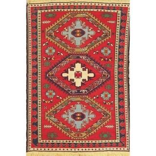"Kilim Geometric Hand Woven Wool Persian Area Rug - 6'5"" x 4'3"""