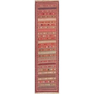 "Kilim Geometric Hand Woven Wool Persian Rug - 8'9"" x 2'4"" Runner"