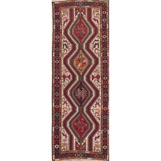 "Kilim Geometric Hand Woven Wool Persian Rug - 9'11"" x 3'7"" Runner"