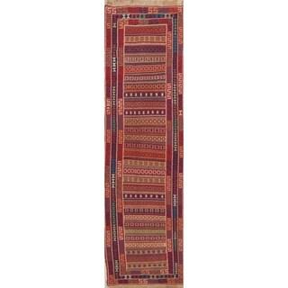 "Kilim Geometric Hand Woven Wool Persian Rug - 9'1"" x 2'4"" Runner"