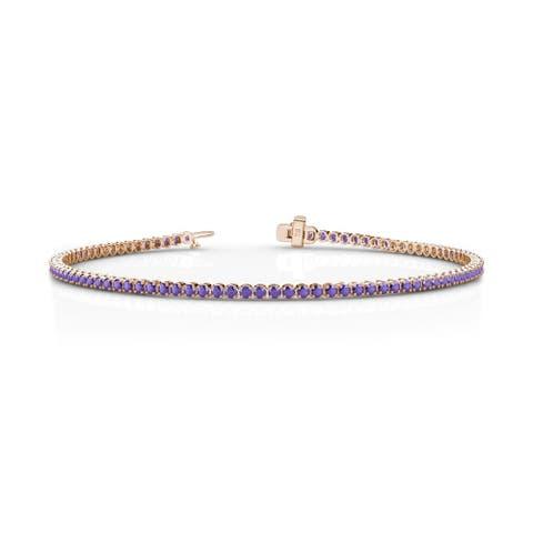 TriJewels Iolite Tennis Bracelet 1.06 Carat tw in 14KR Gold