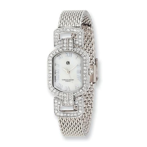 Charles Hubert Mother Of Pearl Dial with Stainless Steel Mesh Band Watch by Versil - White