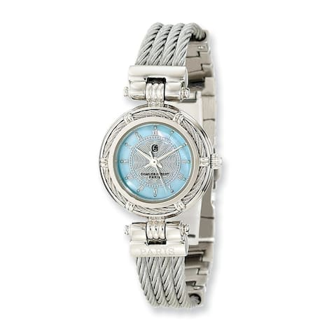 Charles Hubert Chrome Finish Mother Of Pearl Dial Stainless Steel Wire Bangle Watch by Versil - White
