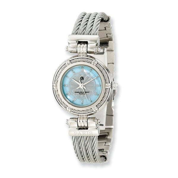 Charles Hubert Chrome Finish Mother Of Pearl Dial Stainless Steel Wire Bangle Watch by Versil - White. Opens flyout.