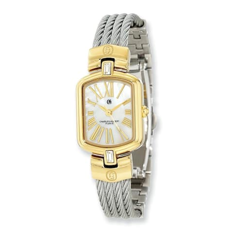 Charles Hubert IP-plated Stainless Steel Wire Bangle Mother Of Pearl Dial Watch by Versil