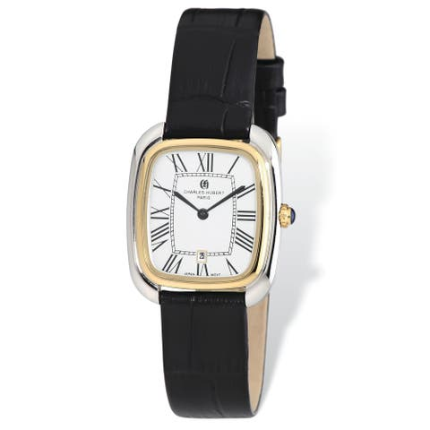 Ladies Charles Hubert Yellow IP-plated 2-tone Square Brown Leather Band Watch by Versil - Two-tone