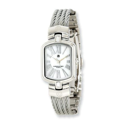 Charles Hubert Stainless Steel Wire Bangle White Mother Of Pearl Dial Watch by Versil