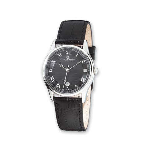 Ladies Charles Hubert Stainless Steel Leather Band 29mm Watch by Versil - Black