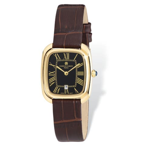 Ladies Charles Hubert Yellow IP-plated Black Square Leather Band Watch by Versil