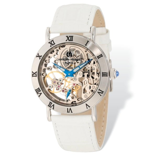 Ladies Charles Hubert Stainless Skeleton Dial Leather Band 35mm Watch by Versil - Silver
