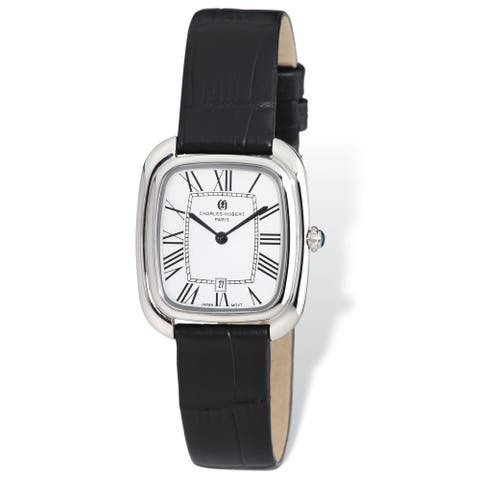 Ladies Charles Hubert Square Face Black Leather Band Watch by Versil - White